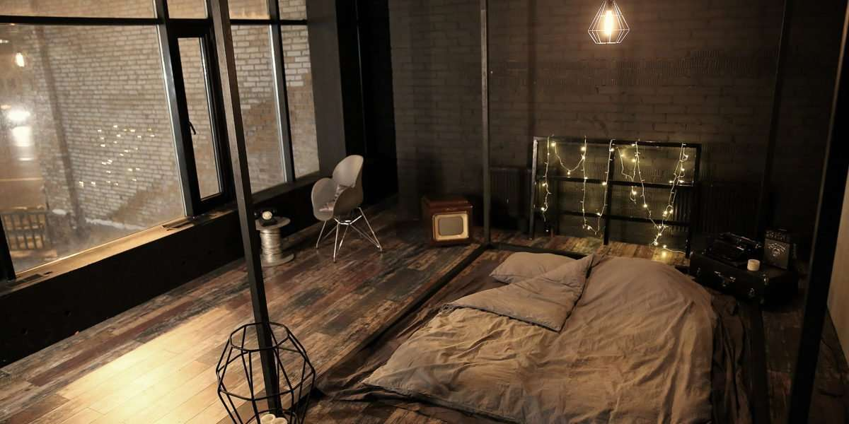 Студия в стиле лофт с кроватью куб